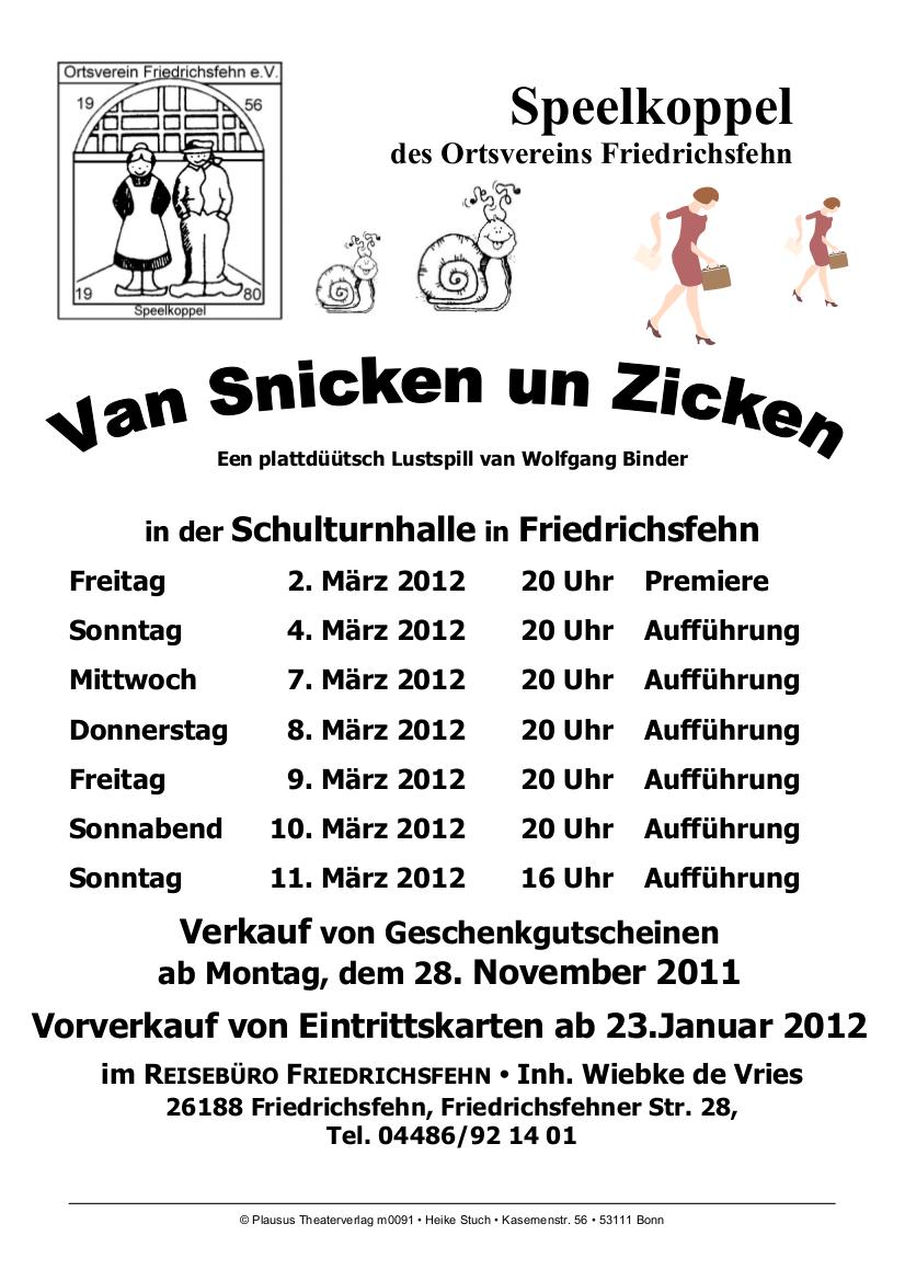 Snicken un Zicken (Spielzeit 2012)